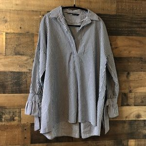 Zara Navy & White Striped Popover Blouse